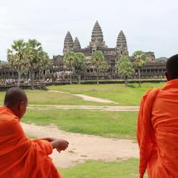 Monks in Angkor Wat Cambodia