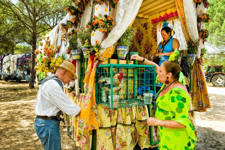 """Pelgrims La Romeria del Rocio - Elk jaar met pinksteren trekken ca 80 Hermandades (broederschappen) uit heel Spanje naar El Rocio om daar hun """"Vi"""