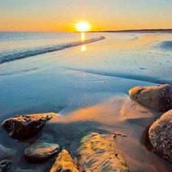 Zonondergang strand