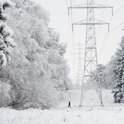 Elektriciteitsmasten met sneeuw