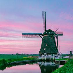 Typisch Nederlands landschap tijdens het avondrood