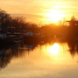 Zonsondergang in de Piushaven