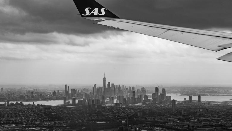 New York - Uitzicht op Manhattan vanuit het vliegtuig.