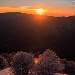 Zonsondergang Vogezen, Frankrijk