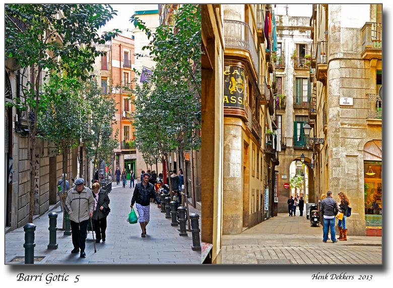 Barri Gotic  5.jpg - Beide straatjes in de buurt van de Rambla.<br /> Wanneer je het poortje rechts door loopt kom je op de Plaza Royal een groot ple