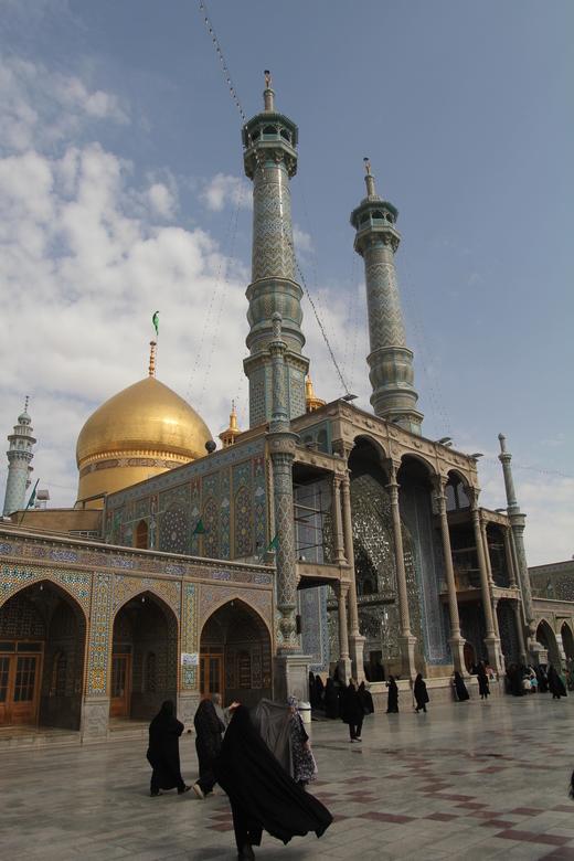2015 Iran Qom - Fatima al-Masumeh heiligdom - Fatima al-Masumeh moskee in vriendelijk Iran