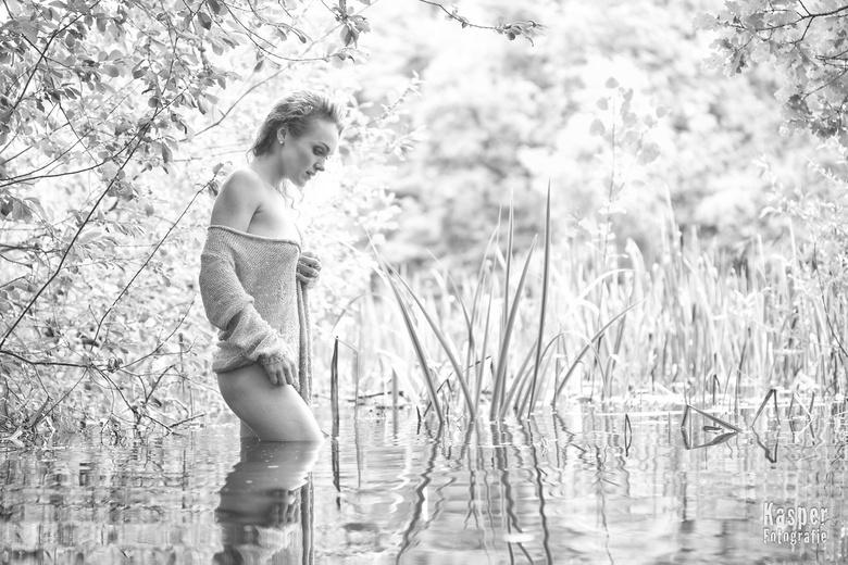 Wading the lake -
