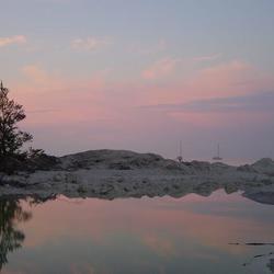 Møns Klint bij zonsondergang
