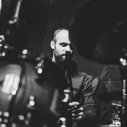 A drummer's face