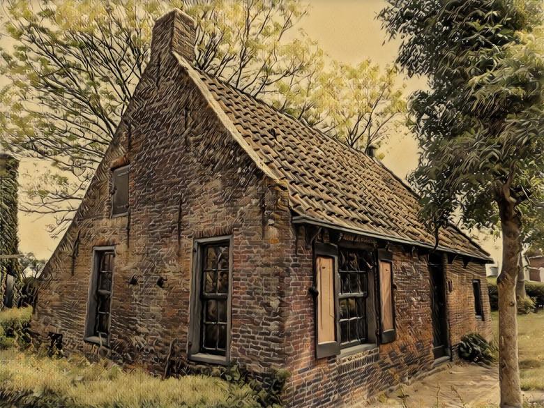 Oud huisje - Een oud huis, bewerkt met een filter.