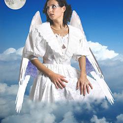 Engel Do kijkt naar de maan