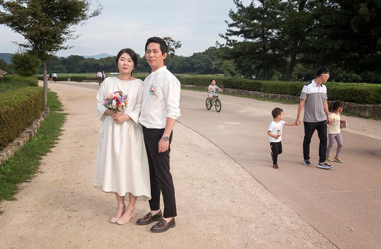 Bruidspaar - Pas getrouwd. Geyeongju Z-Korea