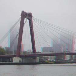 Willemsbrug Rotterdam in mist 3D