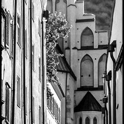 straatbeeld zwart-wit