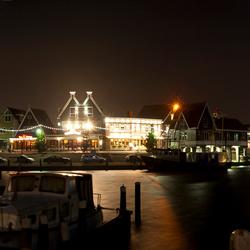 Panorama by night v.d. haven van Volendam