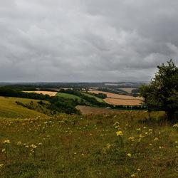 Engels landschap in slecht weer