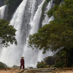 Man looking at the Ban Gioc–Detian Falls, Vietnam.
