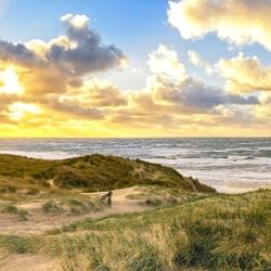 Panorama van het strand van Texel.