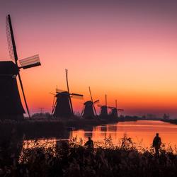 Kinderdijk zonsopkomst silhouetten