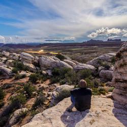 Zelfportret aan Salt Valley Overlook, Arches NP