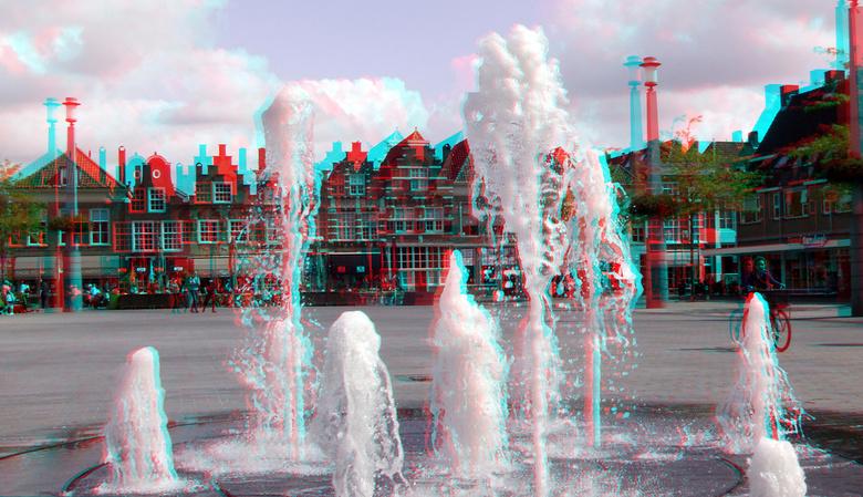 Statenplein Dordrecht 3D anaglyph - Fontein Statenplein Dordrecht<br /> 3D stereo anaglyph red-cyan