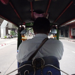 Behind the driver in Asian traffic