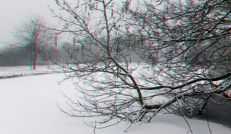 Ommoord Rotterdam in sneeuw 3D - het Ommoordse veld Rotterdam<br /> 3D stereo anaglyph
