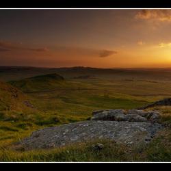 Hadrians Wall bij zonsondergang