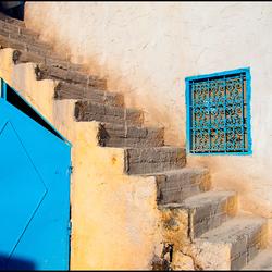trapje met blauw