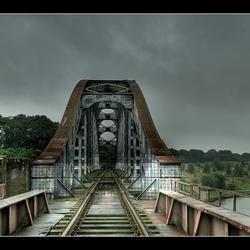 Closed railroad bridge.