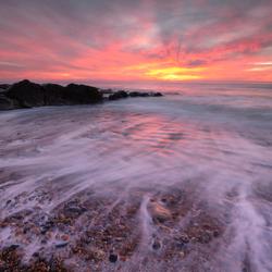 Zonsondergang op het strand van Audresselles