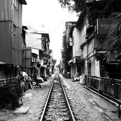 Railway in town, sleep well