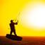Sun-set kitesurfing