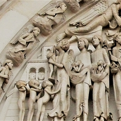 Op weg naar de hemel (fragment uit timpaan van La Madeleine te Vézelay)
