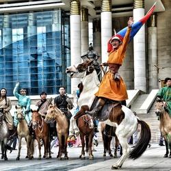 Men on a horse!
