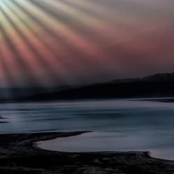 avondlicht rond de Dode zee Israel