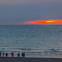Avondlicht aan de Belgische kust te Oostende