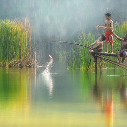 Boys In Fishing Moment