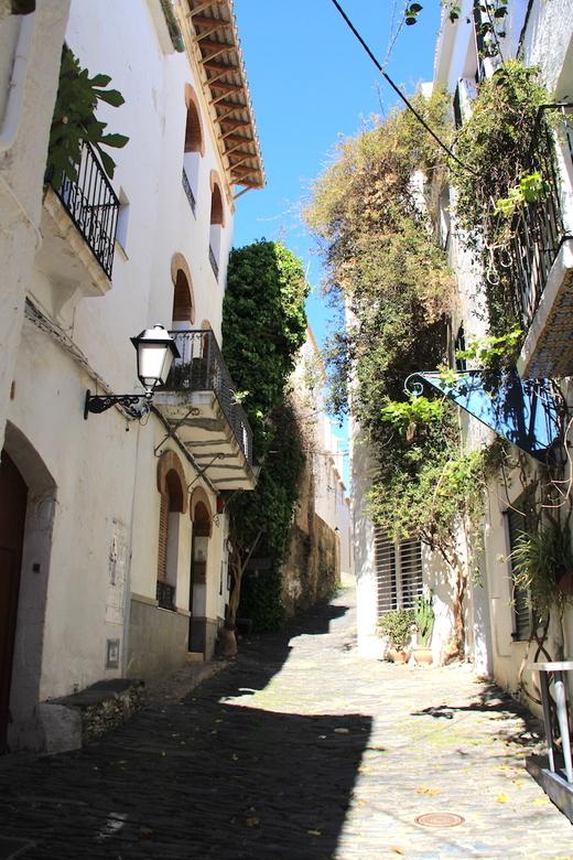 straatje in cadaques - De typische bouw van stadjes in zuid europa, smalle straatje en heel wat klimmen. De bouganville begon heel voorzichtig te bloe