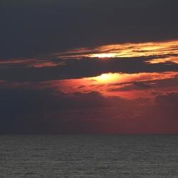 Ondergaande zon op Noordzee
