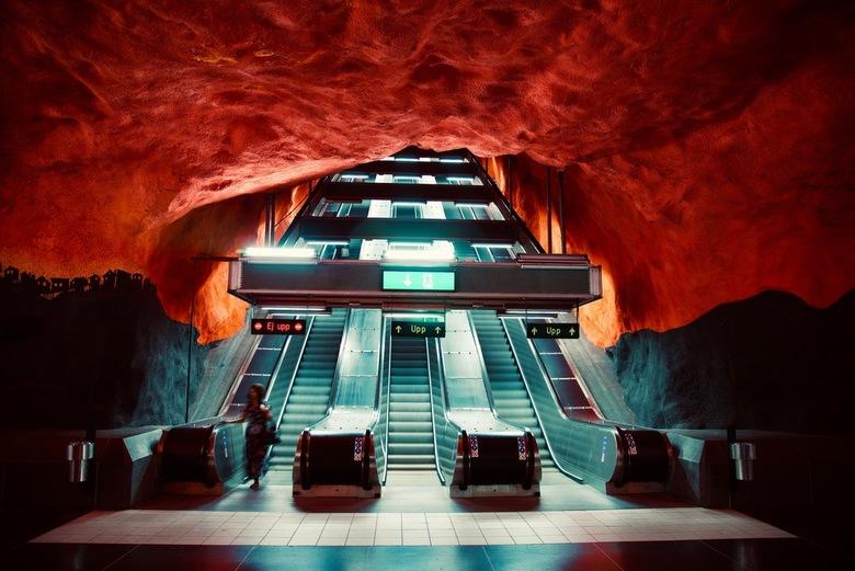 Solna - En omdat het zo mooi was daar, nog maar een foto van een metrostation in Stockholm: Solna Centrum