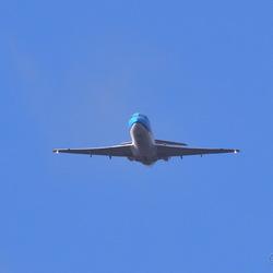 FokkerF28Mk070 in de landingsaanvliegroute