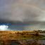 Hagelbui met regenboog