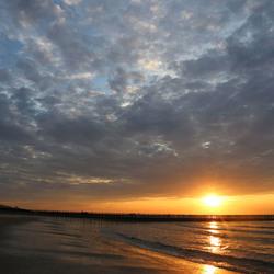 Breskens strand tijdens zonsondergang