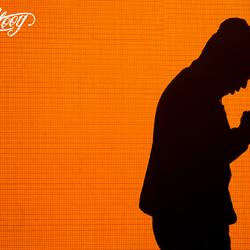 Silhouet van een rapper