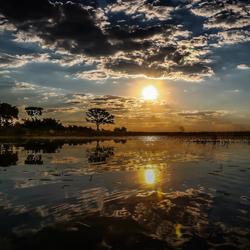 Zonsondergang in de Okavango Delta, Botswana