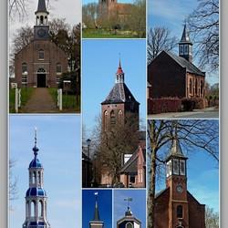 Kerktorens sieren het landschap . .