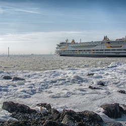 Ferry on ice in the morning