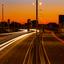 Zonsondergang met weinig verkeer door Corona