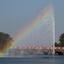 zonlicht gebroken in fontein in Hamburg